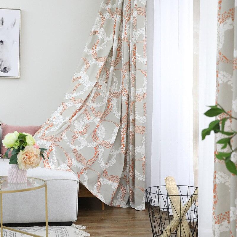 Cortinas para sala de estar simples, balcón dormitorio poliéster algodón cortinas de ventana de tul Hige sombra naranja cortina verde.