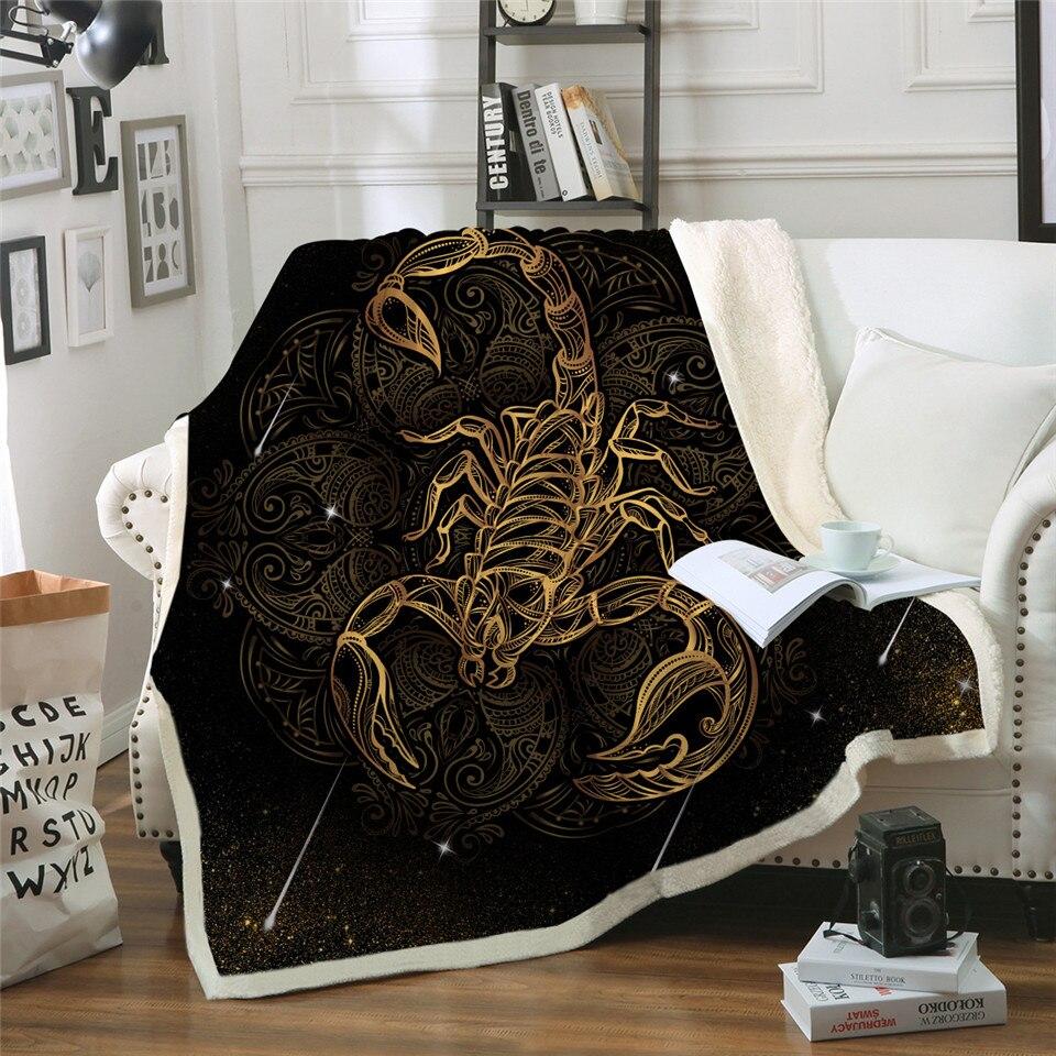 Manta de escorpión dorado Boho Meteor Scorpio ropa de cama sofá clásico a cuadros manta de felpa de terciopelo constelación manta
