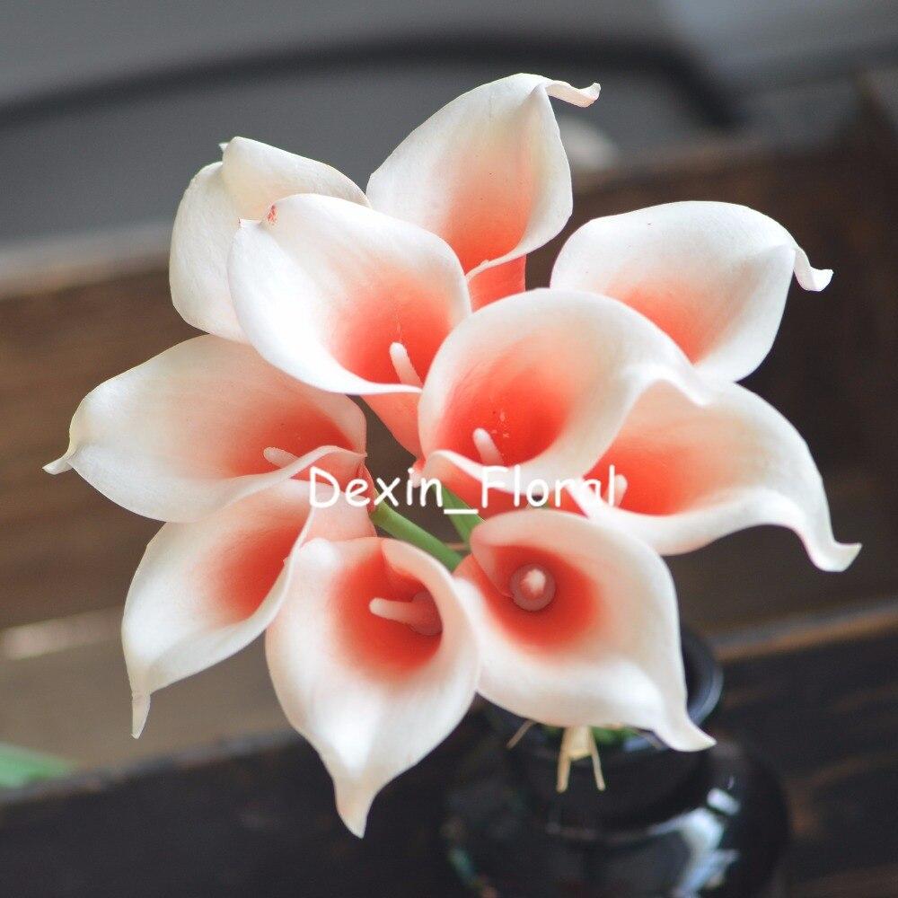 Coral Picasso Calla lililies flores de tacto Real para ramos de boda de seda, decoraciones de boda lirio de calla Artificial
