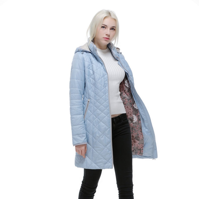 Chaqueta de otoño e invierno para mujer, abrigo cálido delgado con capucha para Europa y Rusia, chaquetas azules de talla grande para mujer 46-56 v506