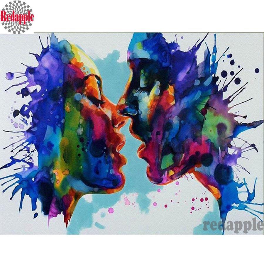 Mais novo diy 5d diamante pintura casal beijo kits de ponto cruz mosaico bordado cristal resina artesanato abstrata amantes decoração da sua casa
