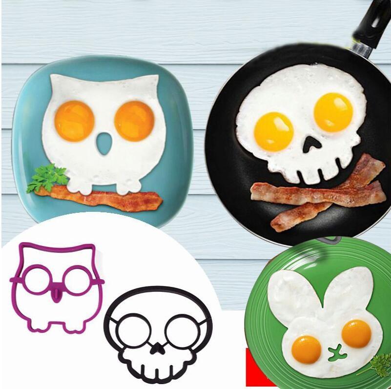 Molde creativo de dibujo animado de conejo, búho, Calavera, huevo, tortitas de silicona, dispositivo de tortilla, herramienta de huevo, cocina, DIY, molde creativo de huevo frito GN
