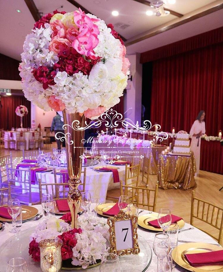 Flor de Oro real florero trompeta soporte para 50 fiesta boda inspiración Rosa planificación del matrimonio
