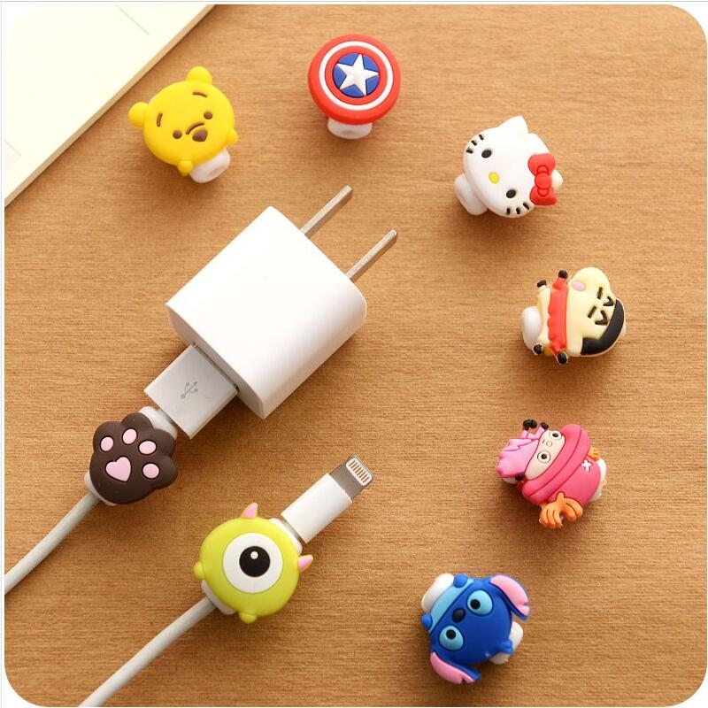100pcs/lot Cartoon Cable Protector Data Line Cord Protector Protective Case Cable Winder Cover For iPhone USB Charging Cable cartoon cable protector data line cord protector protective case cable winder cover for iphone charging cable protecto