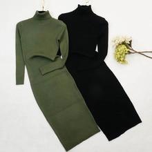 Nouveau automne hiver femmes tricoté robe col roulé pull robes dame Slim moulante à manches longues fond robe Vestidos PP003