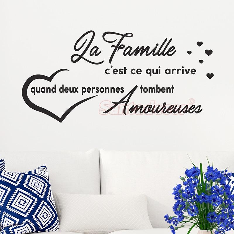 Pegatinas cita La familia Cest Ce Qui Arrive Quand vinilo pared decoración Mural calcomanía pared arte papel tapiz para sala de estar decoración de casa