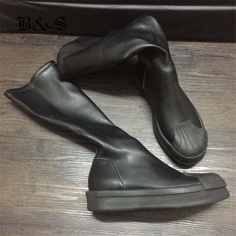 Noir & Street exclusif Punk sans lacet plate-forme Catwalk chaussette bottes hautes léger élastique mince coquille tête bottes de luxe