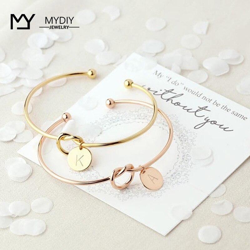 Heißer rosa gold/silber charme armband Initial Knoten Armband weibliche persönlichkeit schmuck Neue mode frauen männer liebhaber armband