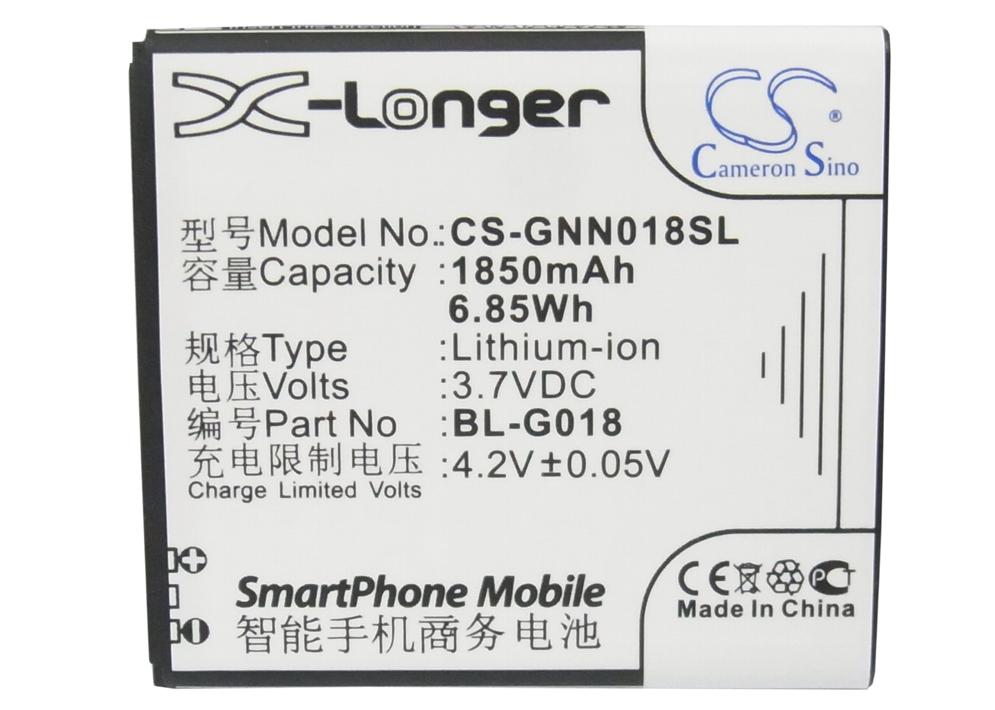 Cameron Sino 1850mAh batería de la batería BL-G018 para volar/GIONEE C700... C800... IQ441... GN206... GN700T/GN700W para NGM WEMOVE WILCO