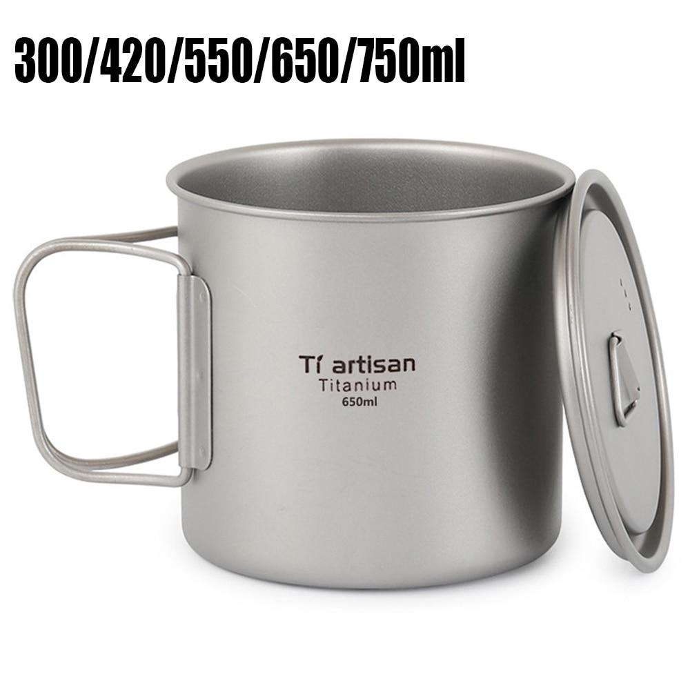 Taza de titanio al aire libre, taza de agua, ollas, vajilla, cocina de acampada, taza de café de agua para Picnic, taza de té para senderismo 300/420/550/650/750ml