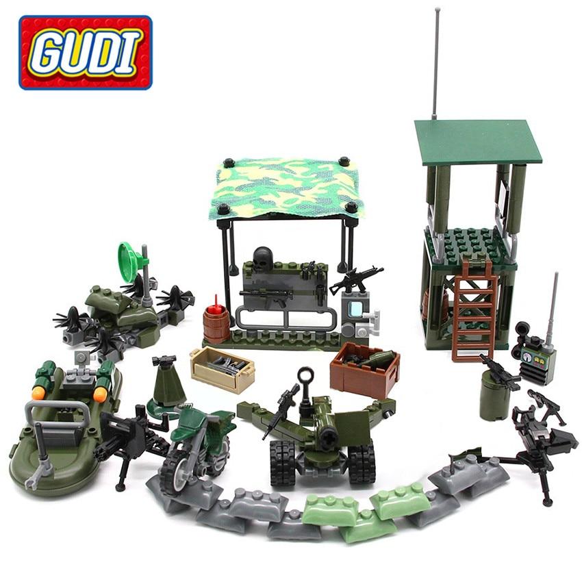 GUDI 4в1 военные пожарные блоки солдатские войны оружие пушки собаки Кирпичи Строительные блоки наборы SWAT игрушки для детей