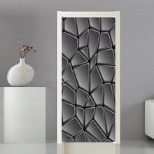 3D خلفيات الحديثة بسيطة مجردة الهندسة الأسود والأبيض الفن الجداريات الباب ملصقا غرفة المعيشة ديكور المنزل PVC 3D ملصقات جدار
