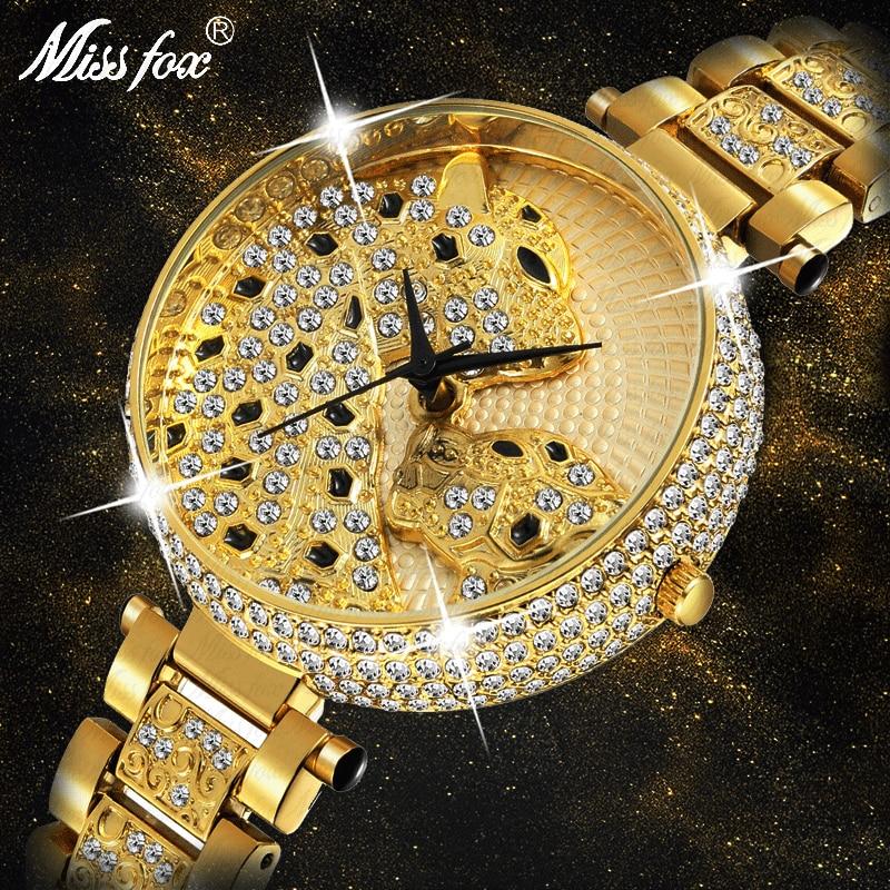 MISSFOX Women Watch Women Fashion Designer Brand Luxury Women Wrist Watch Gold Leopard Clouds Diamond Ladies Watch Quartz Clock