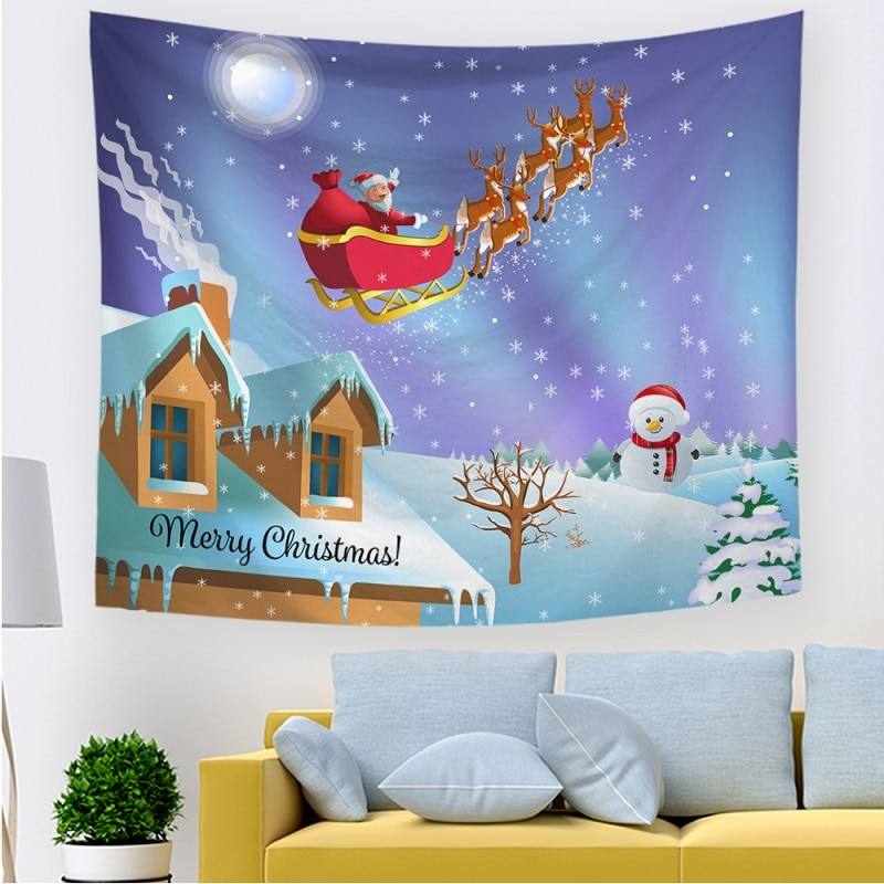 Fondo de tela de pared de trapo que cubre tapiz navideño Estilo nórdico habitación dormitorio decoración de sala