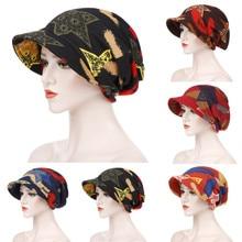 2019 Fashion Women Floral Print Cotton Keep Warm Winter Wide-Brimmed Cap Turban Visor Hat Turbante mujer