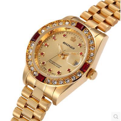 Fashion Full Gold Steel Rhinestone Reginald Brand Watch Woman Water Resistant Calendar Wristwatches Dress Gift Luxury Watches