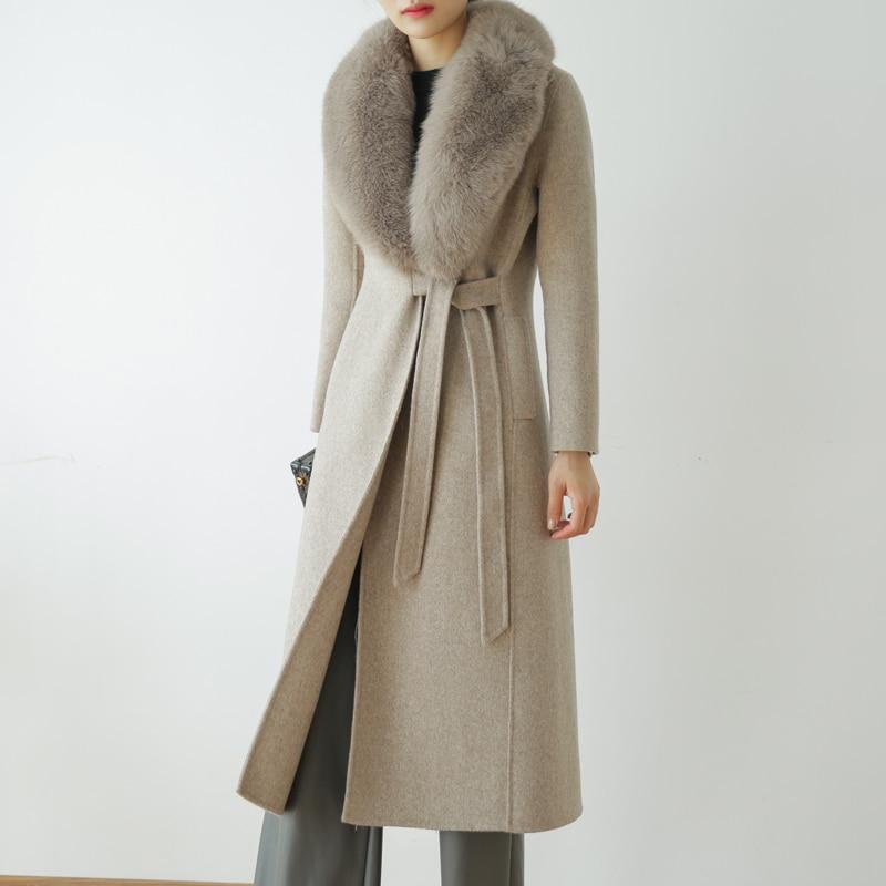 معطف صوف قابل للإزالة للنساء ، ياقة فرو ثعلب حقيقية ، موضة خريف وشتاء 100% ، rf0191
