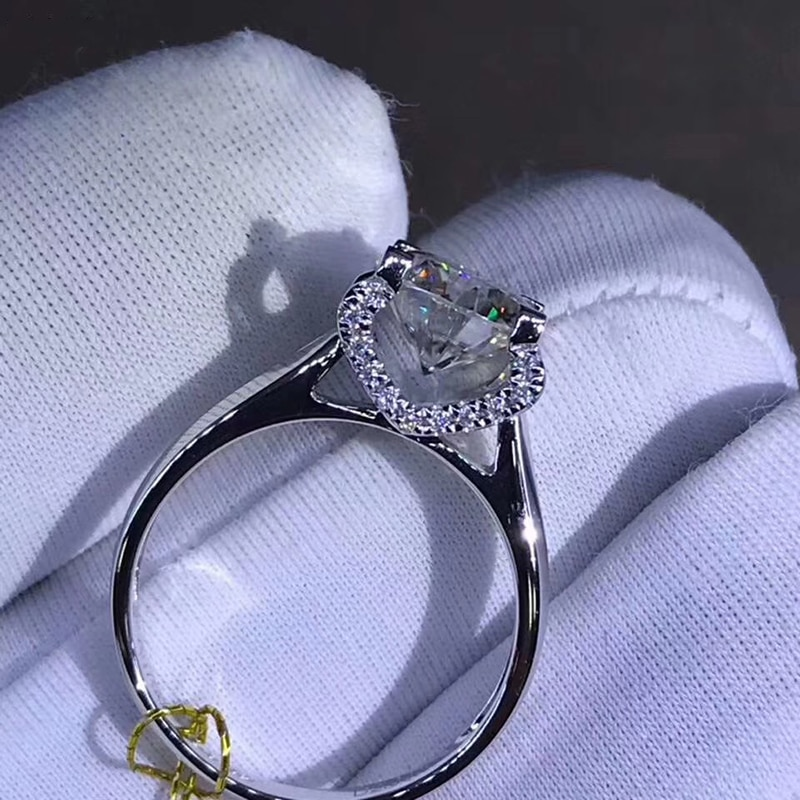 925 فضة 1ct 2ct 3ct جولة بريليانت قص خاتم الماس الفاخرة المويسانتي خاتم الخطوبة مجوهرات الذكرى