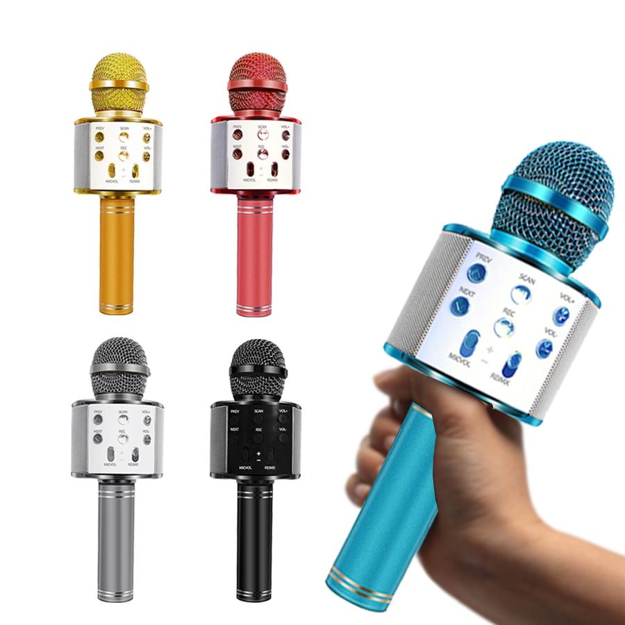 WS-858 Bluetooth беспроводной микрофон ручной караоке микрофон USB мини домашний КТВ для воспроизведения музыки пение спикер плеер