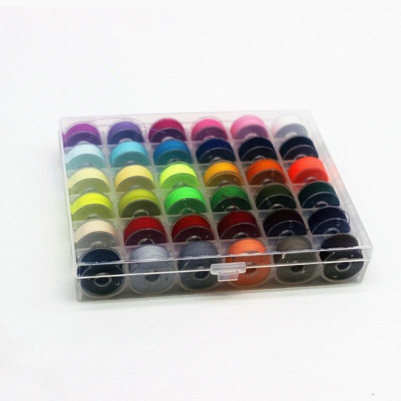 36 piezas de hilo de coser colorido 36 cuadrícula de plástico transparente máquina Bobbins bordado prebobinado Bobbins kit de hilo