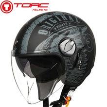 TORC T595 jet casco moto rcycle abierto máscara retro personalizada moto rbike doble visera del casco capacete moto casco DOT