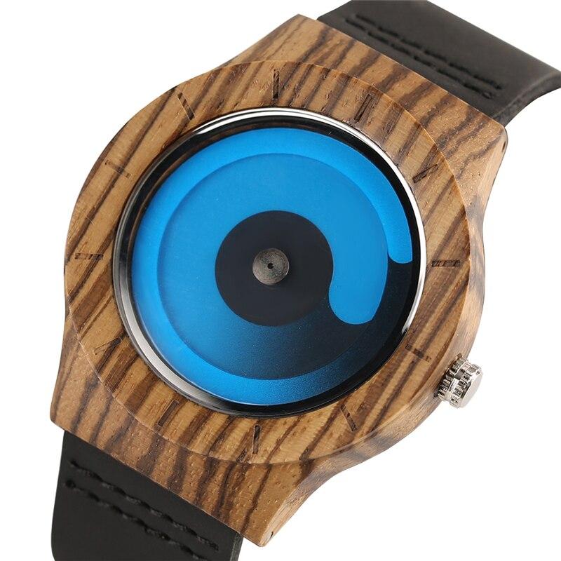 Relojes creativos de madera con esfera de remolino azul/púrpura, correa de cuero informal para hombre, reloj recién llegado 2018, reloj de pulsera de madera, regalo para hombre