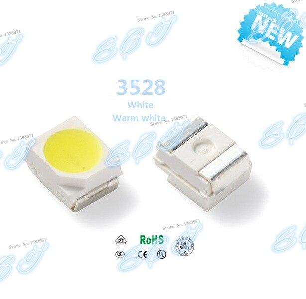 مصباح SMD LED فائق السطوع ، 3000 قطعة ، 3528 ، 6-7 لومن ، 1210 واط ، 0.06 أبيض دافئ ، جديد ، شحن مجاني