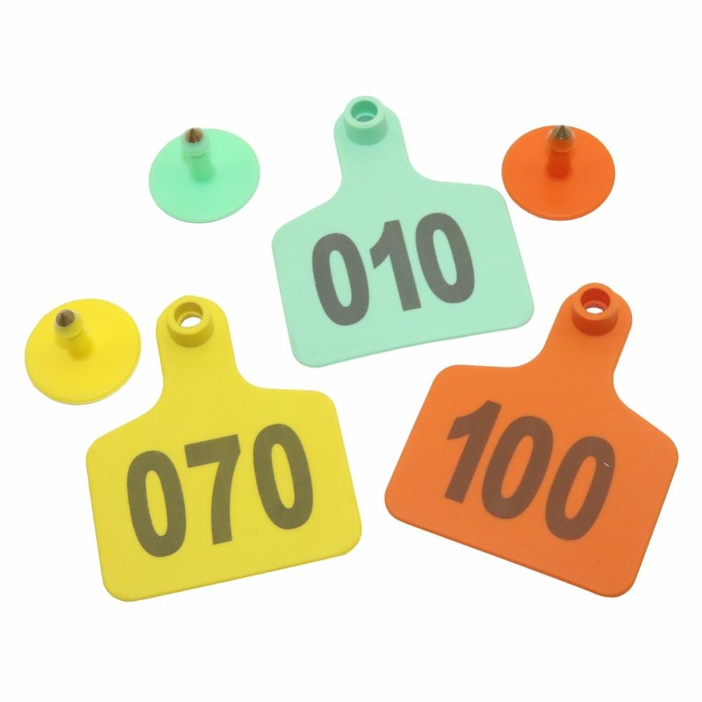 Gravação a Laser Pçs de Plástico Digital Numeração Gado Orelha Tag Marcado Identificationd Ovelhas Semear 100 No.1-100