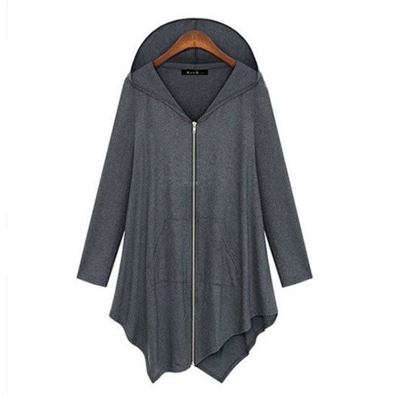 ¡NOVEDAD DE 2017! Jersey holgado de punto para mujer, abrigo de manga larga con bolsillos y cremallera, cárdigans casuales irregulares de talla grande con capucha