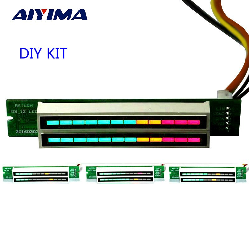 AIYIMA Mini Dual 12 Nivel indicador Medidor de VU placa amplificadora estéreo Placa de velocidad de luz ajustable con AGC Mode Diy KITS