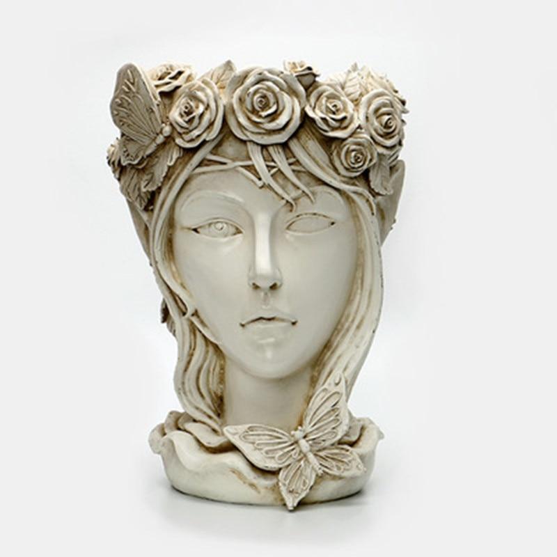 Artesanía de resina Europea diosa griega maceta flor cilindro porche exterior jardín ornamentos M1788