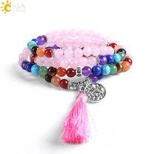 CSJA Vriendschap Strand Armbanden voor Meisjes Reiki Healing 7 Chakra 108 Mala Yoga Kralen Roze Kwarts Steen Multilayer Bangle E659
