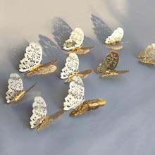 12 Uds adhesivo para pared de mariposa hueco 3D para decoración del hogar DIY mariposas nevera adhesivos decoración de dormitorio fiesta boda decoración