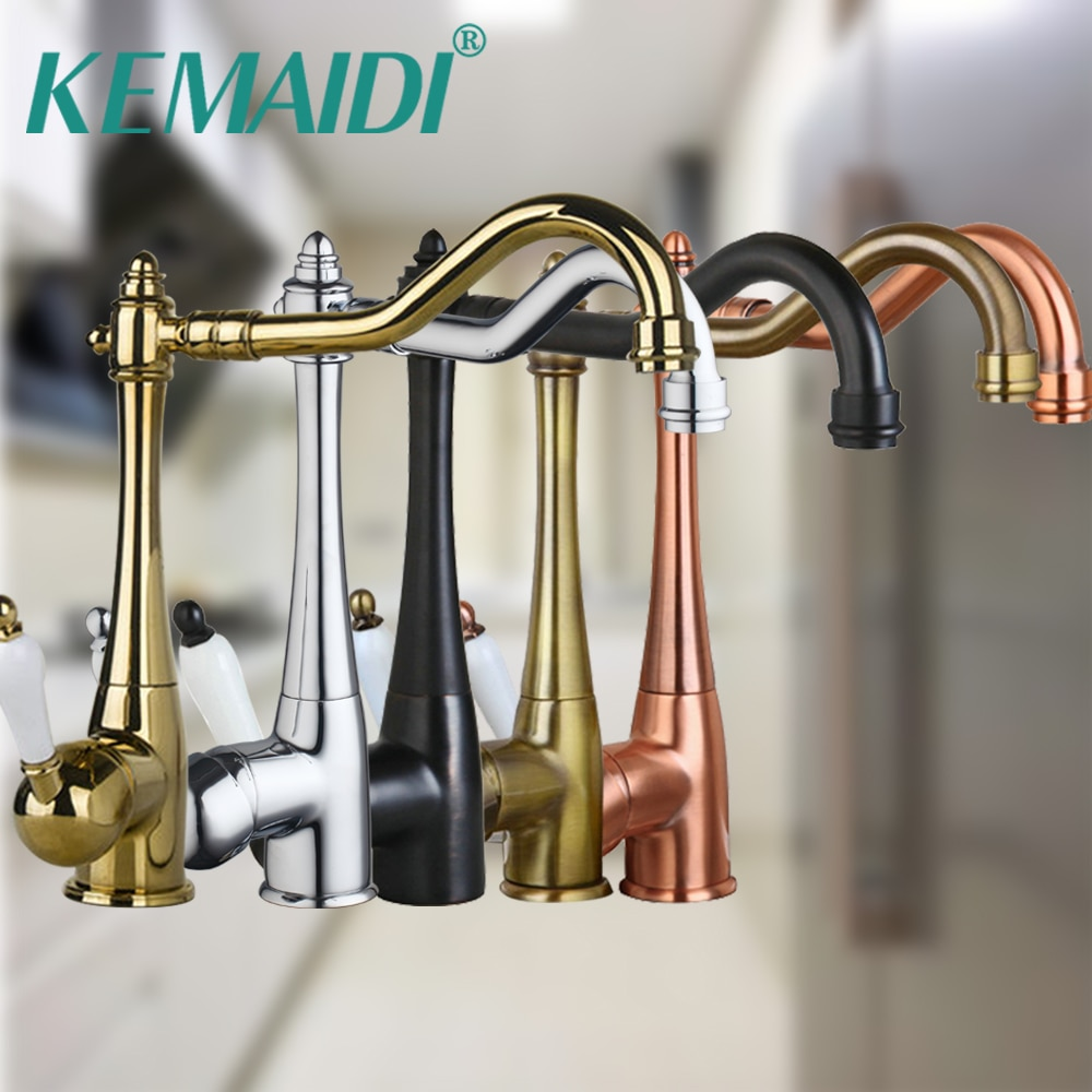 KEMAIDI-صنبور خلاط لحوض المطبخ ، عتيق ، نحاس/كروم/ORB/ذهبي ، تشطيب نحاسي دوار ، مثبت على سطح السفينة