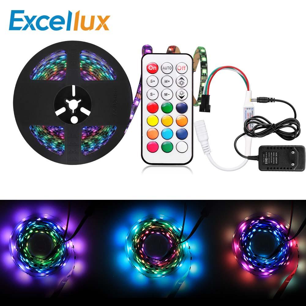5M WS 2811 30 LEDs/M RGB direccionable individualmente tira/cinta de luz + 21KEY RF Control Remoto + 12V adaptador para PC TV retroiluminación