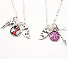6 paire/lot Clint Natasha BFF colliers Marvel bijoux Clintasha Hawkeye veuve noire OTP BFF amitié bijoux partenaires dans le Crime