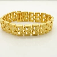 15mm wide wrist cahin bracelet mens jewelry yellow gold filled wide carved bracelet 7 87 inches