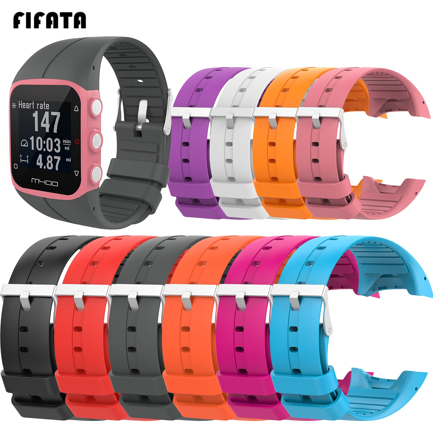 FIFATA Replacement Soft Silicone Watch Sport Band Strap For Polar M400 Band For Polar M430 Smart Watch Bracelet Wrist Strap high quality comfortable silicone replacement wrist watch band for polar v800 smart bracelet with tool smart watch strap