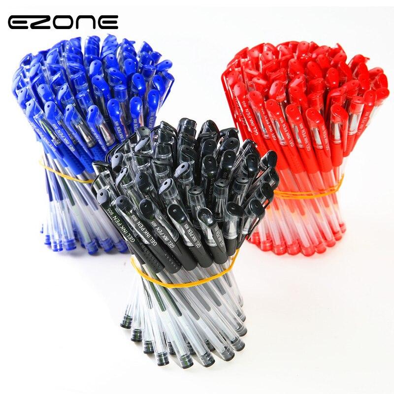 EZONE 20 шт./компл. гелевая ручка 0,5 мм черная/синяя/красная чернильная пуля нос/игла роликовая ручка Крышка вытягивающий дизайн школьные офисные авторучки