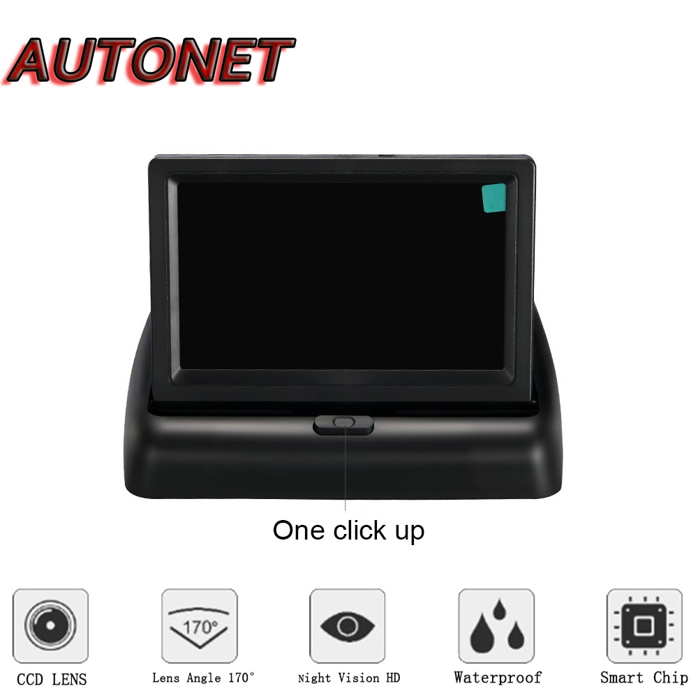 AUTONET-شاشة TFT LCD مقاس 4.3 بوصة للسيارة ، وشاشة ملونة رقمية ، وكاميرا خلفية ، وفتح وغلق قابل للطي ، 16:9 NTSC PAL 12V RCA