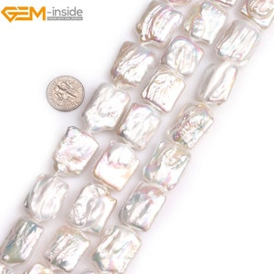 Gem-inside Natural White Pink Purple Grey Rectangle Nuclear Edison  Luster Pearls Beads for Jewelry Making 15'' DIY Jewelry
