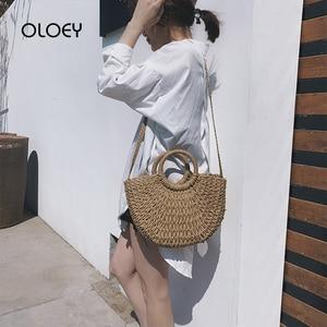 Semicircular Straw Handbags Women Shoulder Bags Lady Big Beach Woven Casual Totes Ins Summer Bali Hollow Handmade Messenger Bag