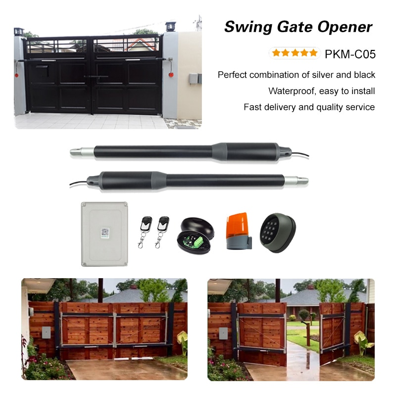200KGS Automatic dual arms electric swing door gate Opener Operator Motor actuator closer swing gate opener for access control automatic swing door gate opener electric double arm opener operator linear actuator with remote control warning light optional