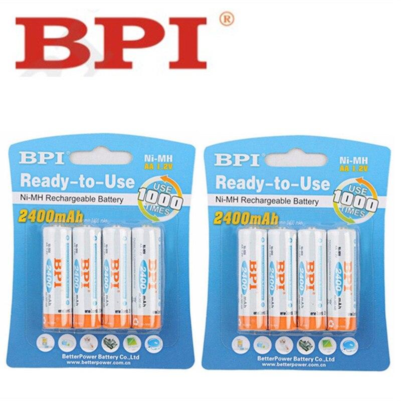 8 Uds. 100% original y genuino BPI 2400mAh NiMH AA baterías recargables, juguetes de alta calidad, cámaras, linternas y batería
