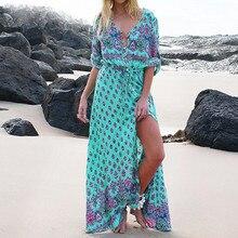 Robe à manches longues vert Tropical plage Vintage Maxi robes Boho décontracté col en V ceinture à lacets tunique drapée robe de grande taille #3