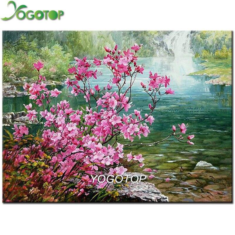 YOGOTOP 5D DIY Diamond Painting Natural scenery Full Embroidery waterfall Square Drill Mosaic Wall Decor plum blossom QA711