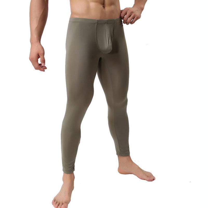 Men's  Leggings Ultra-thin Ice Silk Pants Mesh Underwear Pants Tights Leggings for Autumn winter Long Pants Homem Sleepwear