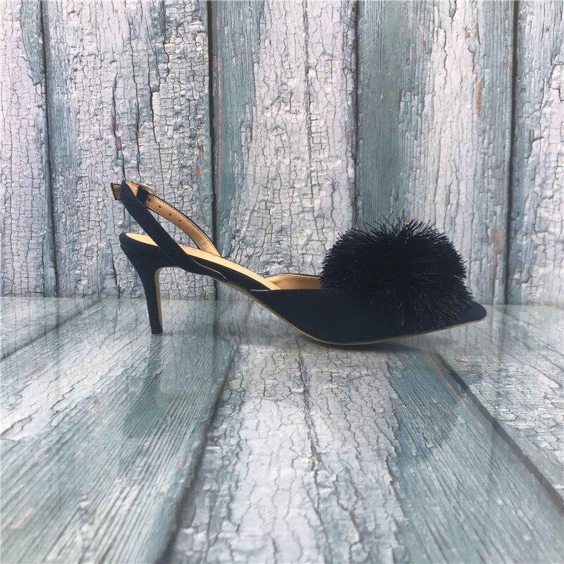 Kmeioo Pumps US 5-15 para mujer, Puff pompón gatito tacones puntiagudos zapatos de tacón bajo, sandalias de noche fiesta boda