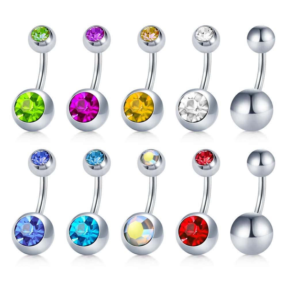 Paquete de 10 anillos de acero inoxidable para el ombligo, anillo Piercing corporal de 14G para mujer y niña con incrustaciones de zirconia cúbica, 6m
