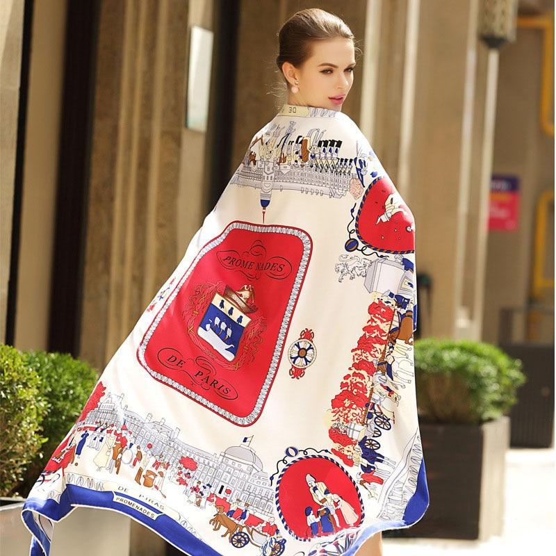 130*130CM HOT Winter100 % Twill Silk kobiety szalik Eur moda spacer paryż kwadratowe szale z nadrukiem okłady pałąk najwyższej jakości prezent